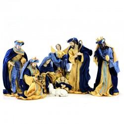 Natività in resina vestita con velluto blu 40 cm 10 pezzi