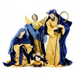 Resin & Blue Velvet Nativity 10 items 40 cm