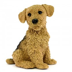 Cane Terrier Airedale in resina siliconica colorata 19x24 cm