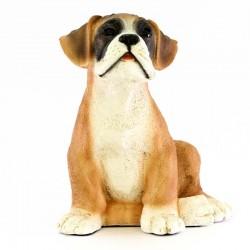 Cane cucciolo boxer in resina siliconica colorata 20x23 cm