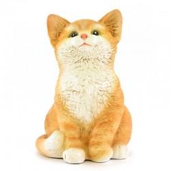 Gattino marrone seduto in resina siliconica colorata 14x20 cm