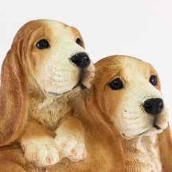 Silicone Resin Pair of Basset Hound Puppies 26x16 cm