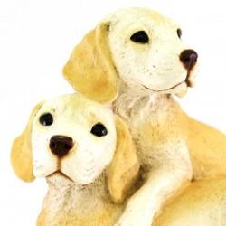 Silicone Resin Pair of Labrador Puppies 24x18 cm