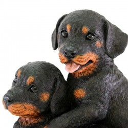 Silicone Resin Pair of Rottweiler Puppies 26x21 cm