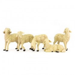 Set of 4 sheep and ram for crib in colored resin 20x22 cm