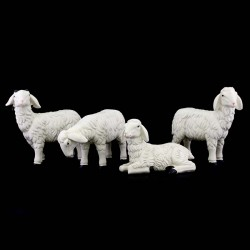 Set of 3 sheep and ram for crib in colored resin 17x17 cm