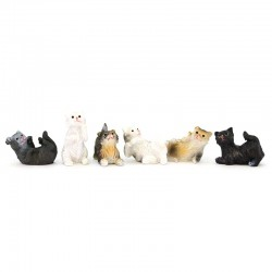 Cats for nativity scene in colored resin 6 pieces 3 cm