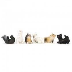 Gatti per presepe resina colorata 6 pezzi 3 cm