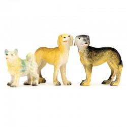 Cani per presepe resina colorata 3 pezzi 5 cm