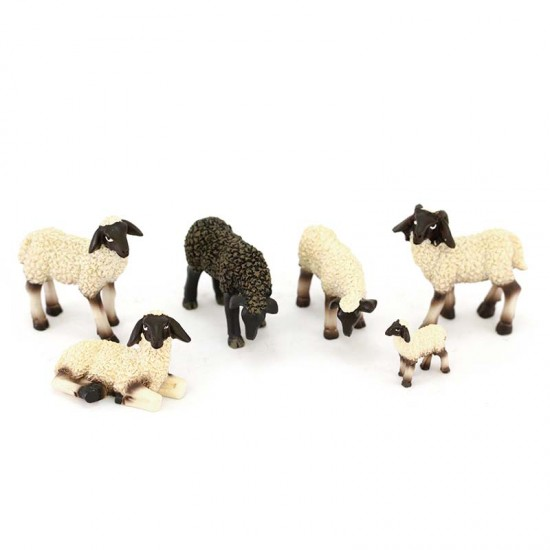 Set of 6 sheep with black head for nativity scene 5 cm