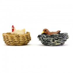 Set 2 nidi con gallina e uccello resina 3,5x2 cm