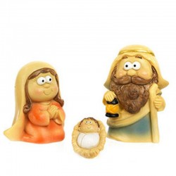 Funny Nativity in colored resin 4,3 cm 7 characters