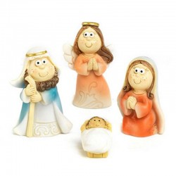 Funny Nativity in colored resin 4,4 cm 7 units