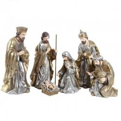 Natività completa di Re Magi in resina dipinta 75 cm 6 pezzi