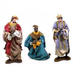 Triade Re Magi in resina dipinta vestiti 120 cm
