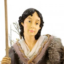 Kneeling shepherd in resin dressed with clothes 80 cm