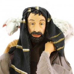 Shepherd with sheep in resin dressed with clothes 80 cm