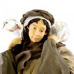Young Shepherd with sheep and dressed with clothes 80 cm