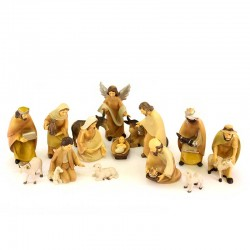 Full Nativity with colored resin shepherds 15 cm 15 pcs