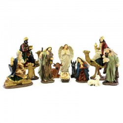 Full Nativity with shepherds and Wise Men on camels 20 cm 11 pieces