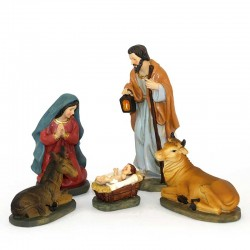 Full Nativity in colored resin 16 cm 11 pieces