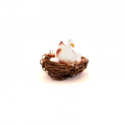 Nest with duck and eggs 4,5x4,2 cm