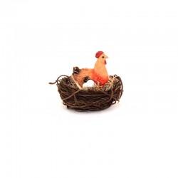 Nido con Gallina e uova 4,5x4,2 cm