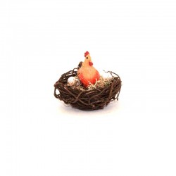 Nest with hen and eggs 4.5x4.2 cm