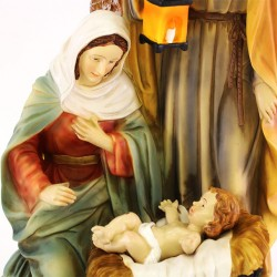 Classic Nativity group in colored resin 28 cm