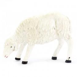 Sheep grazing in patinated white polyethylene 25x18 cm