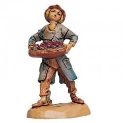 Contadino con cassetta mele in resina 6,5 cm Presepe Fontanini