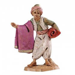 Venditore di tappeti in resina 6,5 cm Presepe Fontanini
