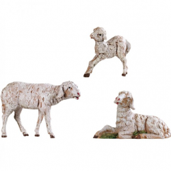 Group of sheep in resin 3 pcs 12 cm Fontanini cribs