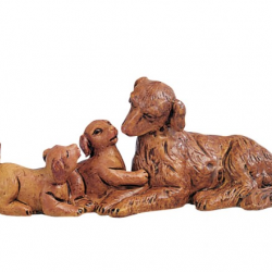 Family of dogs in resin 12 cm Fontanini cribs