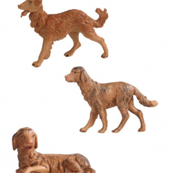 Family of dogs in resin 3 pcs 12 cm Fontanini cribs