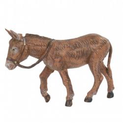 Standing brown donkey in resin 12 cm Fontanini cribs