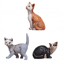 Group of cats in resin 3 pcs 12 cm Fontanini cribs