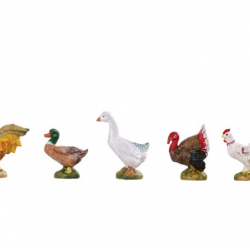 Fowls in resin 5 pieces 12 cm Fontanini cribs