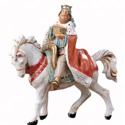 White Wise Man on Horseback in resin 12 cm Fontanini cribs