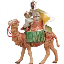 Black Wise Man on camel in resin 12 cm Fontanini cribs