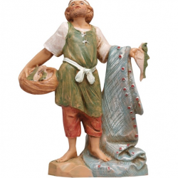 Shepherd with net and fish in resin 12 cm Fontanini cribs