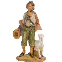 Shepherd with hat and sheep in resin 12 cm Fontanini cribs