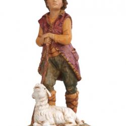 Shepherd with sitting sheep in resin 12 cm Fontanini cribs