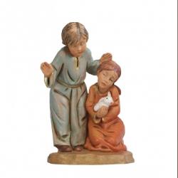 Pair of kids in resin 12 cm Fontanini cribs