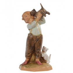 Boy with kittens in resin 12 cm Fontanini cribs