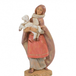 Girl with mantle and lamb in resin 12 cm Fontanini cribs