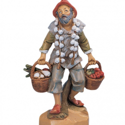 Farmer with vegetables in resin 12 cm Fontanini cribs