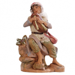 Sitting bagpiper in resin 12 cm Fontanini cribs