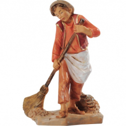 Young boy sweeping in resin 12 cm Fontanini cribs