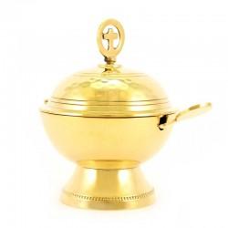 Navetta tonda in metallo dorato martellato 12 cm